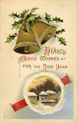 ca 1910 New Year Embossed postcard BELLS AND STREET VIEW publ. in Germany