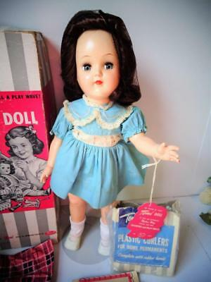 "1949 Ideal Toni 16"" Doll with Box Wrist Tag Hair Curlers BRUNETTE Auburn P-91"