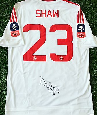 Manchester United Adidas Shirt size L signed FA Cup Final Shirt Shaw 23