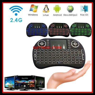 Mini Keyboard Touchpad Tastiera Led Retroilluminata Wireless USB per Android TV