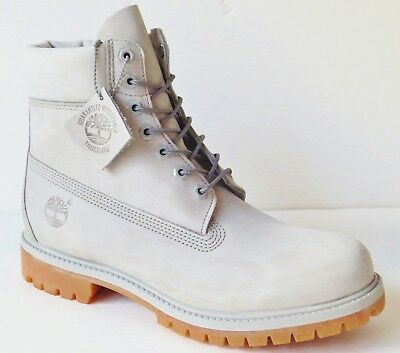 Timberland Mens Light Gray 6 Inch Premium Leather Work Boots Style A1GAU
