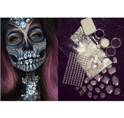 DIY Halloween Full Face Body Art Kit Gems Sugar Skull Silver Flake Glitter Jewel