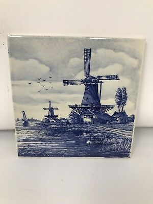 Antique Delft Hand Painted Tile Made In Holland