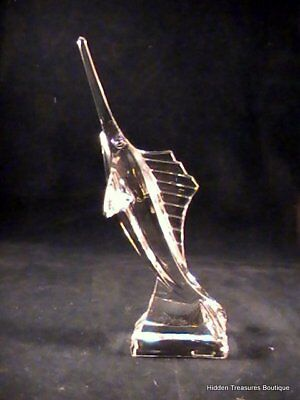 J. G. Durand French Crystal Figural Swordfish Paperweight Signed France