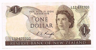 1975-77 NEW ZEALAND ONE DOLLAR NOTE - p163c