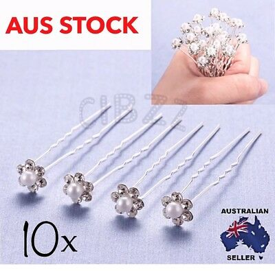 10x U Shape Hair Pin Crystal Pearl Bridal Wedding Bun Accessory Rhinestone Clip