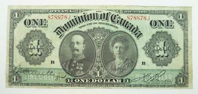 1911 Dominion of Canada One Dollar / $1.00 Banknote - Lord & Lady Grey - F to VF