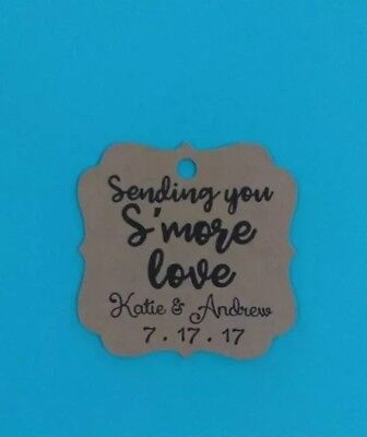 24 personalized wedding bridal shower favor tags smores smore love
