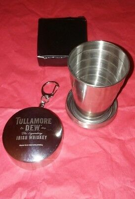 Tullamore Dew Metal Traveler Shot Glass. With Keychain. New.