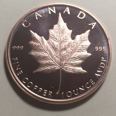 Canada Maple Leaf One Ounce (1oz.) Pure Copper Coin - Round