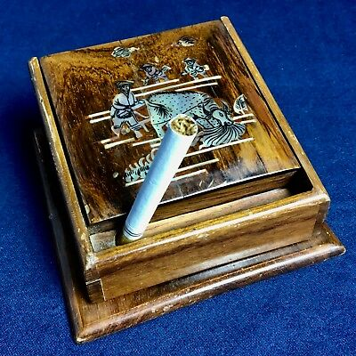 Vintage Cigarette Dispenser Chinese Origin In Wood With Mother-Of-Pearl Inlay