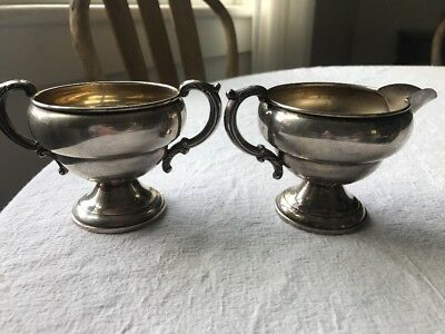 Wolfenden Sugar And Creamer Weighted Silver Victorian Beautiful
