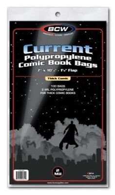 (400) Bcw Current / Modern - Thick Comic Book Clear Bags / Covers Sleeves