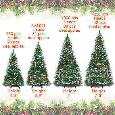 5/6/7/7.5ft Snow Tipped Artificial Christmas Tree w Base and Pine Cones Decorate