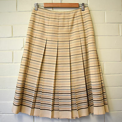 Vintage Fletcher Jones Box Pleat Striped Wool Skirt Size M 10 60s/70s
