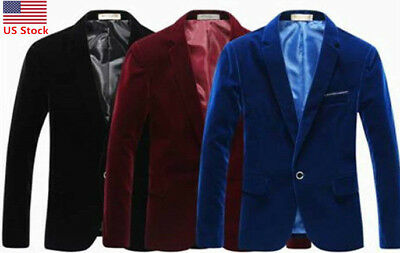 US Men Velvet Blazer Slim Fit Coat Dinner Suit Jacket Smart Formal Casual Jacket