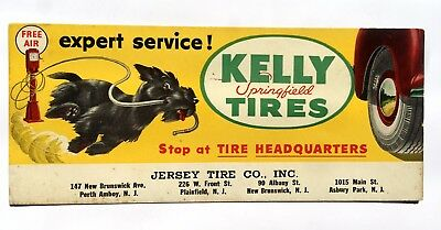 Vintage Advertising Blotter for Kelly Tires w/ Schnauzer Dog New Jersey
