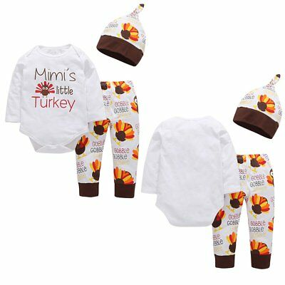 Baby Girls Boys 1st Thanksgiving Day Romper Long Pants Hat Clothes Outfits Set