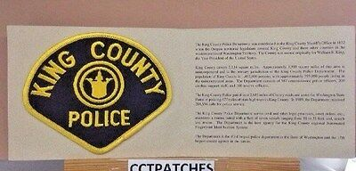 King County, Washington Police With Card Shoulder Patch Wa