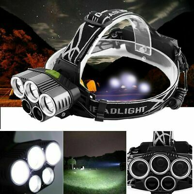 80000LM 5x XM-L T6 LED Rechargeable 18650 USB Headlamp Head Light Zoomable