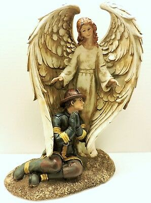 Fireman Guardian Angel Fire Dept New 8 1/2 x 5 1/2 x 12 inch Figurine USA