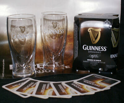 4x Draught Guinness Bier/Dose 440ml, plus zwei x 0,5l Guinness Reliefglas!