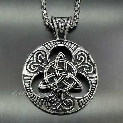 Men's Large Celtic knot Magic Both Sided Solid 316L Stainless Steel Pendant