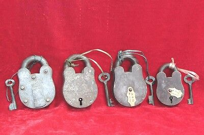 4 Pc Vintage style Home Safety Antique Iron Brass Lock and Keys Decor PW-82
