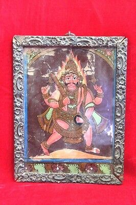 1850's Old Vintage Antique Glass Painting Bheru with Frame PH-50