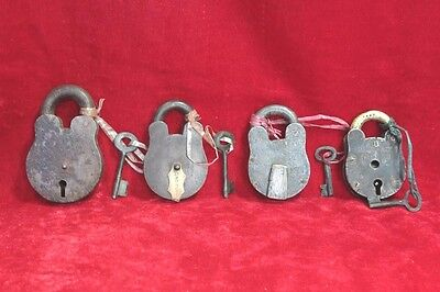 Old Handcrafted Antique Iron Brass 4 Pc Lock and Keys Home Safety PW-84