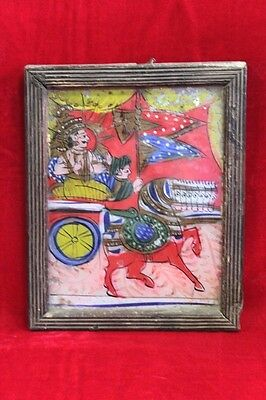 1850's Old Vintage Antique Glass Painting Arjun Krishna with Frame PH-49