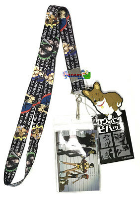 **Legit** Cowboy Bebop PVC Rin & Group Line Up Badge ID Holder Lanyard #37854