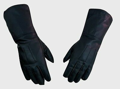 Masonic Real Leather (Kt)Black, Piper Drummer Leather Gauntlets / Gloves- New