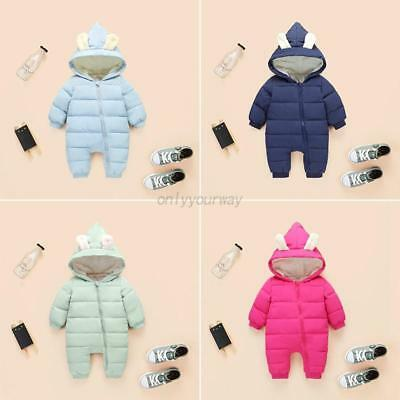 AU Winter Infant Boy Girl Warm Snowsuit Toddler Hooded Romper Cotton-padded Suit