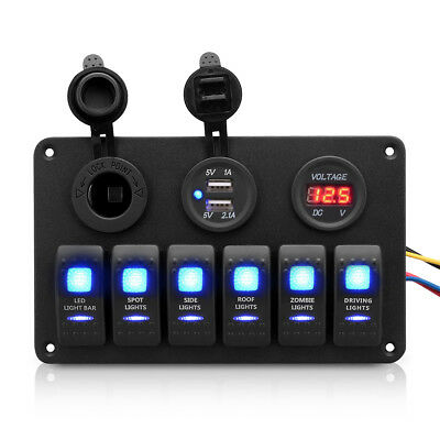 12V 6Gang Boat Marine LED Rocker Switch Panel 2USB Charger Voltmeter Socket IP65