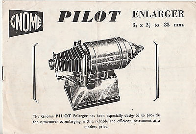 Gnome Instruction Booklet Pilot Enlarger - Rare Vintage Copy