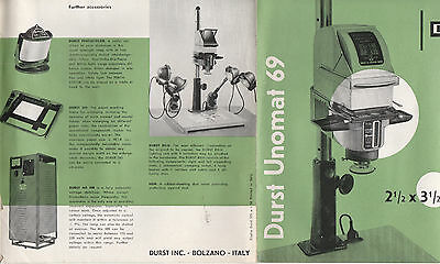 Durst Unomat 69 Photographic Brochure - Rare Vintage Copy - Precision Enlarger