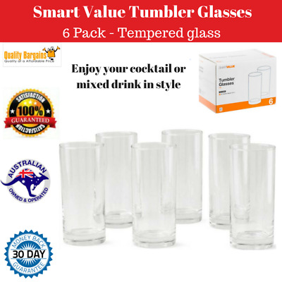 Set of 6 Tumbler Glass Drinking Cup Water Clear Drink Juice Beverage Glassware