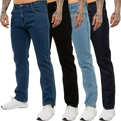 New KRUZE Classic Mens Work Jeans Straight Leg Regular Fit Basic Denim All Sizes