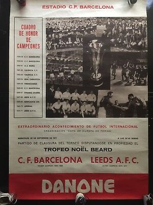 C.F. Barcelona vs. Leeds .1971 Noël Beard Trophy.Final.cartel - poster official