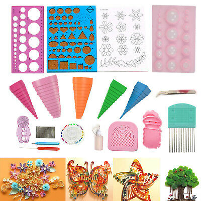 18PCS/Set Quilling DIY Craft Tool Full Kit Tweezer Board Mould Guide Multicolor