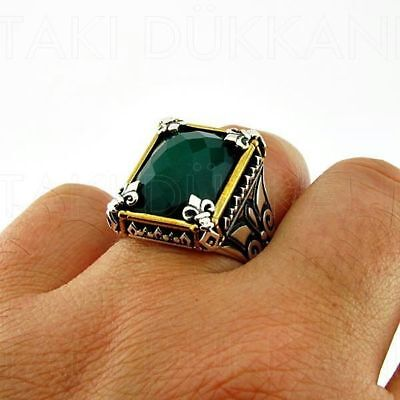 Handmade 925 Sterling Silver Jewelry Ottoman Style Emerald Men's Ring All Size