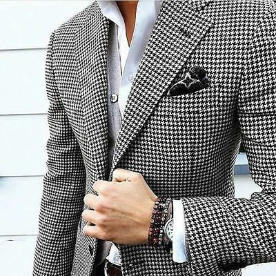 Mens Houndstooth Suits Custom Made Dogstooth Tweed Vintage Man Suits Hotsale