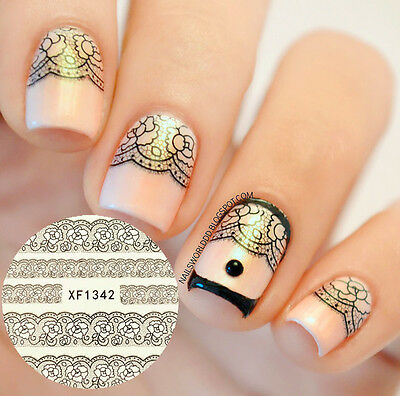 Nail Art Water Decals Transfer Stickers Chic Black Flower Rose Dot Manicure Tips