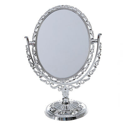 Silver Vanity Make Up Cosmetic Table Bathroom Mirror On Foot Stand Ct Y3 I3E4