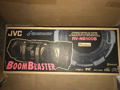 New JVC RV-NB100 Bluetooth Portable CD Boomblaster with Lightning Dock and DAB