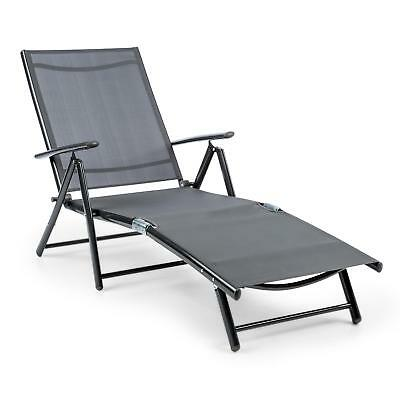 7 Stage Reclining Grey Lounger Chair Garden Home Beach Folding Aluminium Balcony