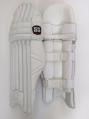 SS Pro Issue Cricket Batting Pads: All White Custom Made