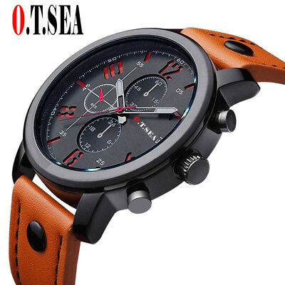 New 2017 Mens Military Leather Strap Army Sport Quartz Wrist Watch Gift For Him