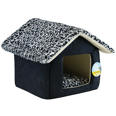 Me & My Super Soft Leopard Print Cat/kitten/dog/puppy Igloo House Cave Pet Bed